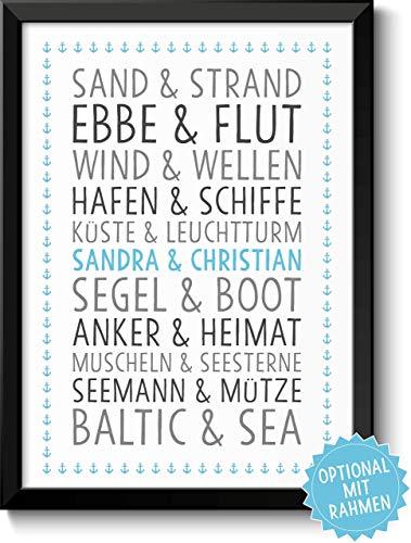 DU & ICH Baltic Sea Bild mit Namen personalisiert optional mit Holz-Rahmen Geschenk Geschenkidee Paare beste Freunde Familie