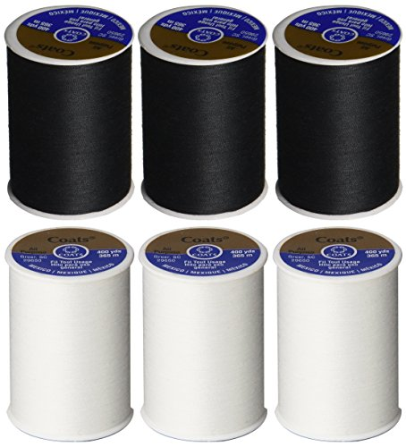 6 Pack Bundle - (3 Black + 3 White) - Coats & Clark Dual Duty All-Purpose Thread - Three 400 Yard Spools each of BLACK & White