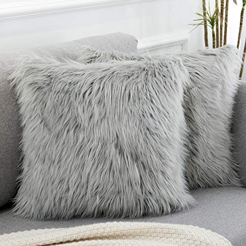 WLNUI Set of 2 Decorative Light Gray Fluffy Pillow Covers New Luxury Series Merino Style Faux Fur Throw Pillow Covers Square Fuzzy Cushion Case 18x18 Inch