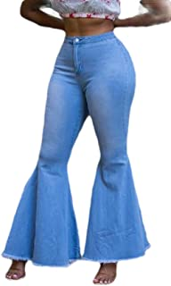 Women Bell Bottom Jeans Flare Slim Fitted Stretchy Denim Pants
