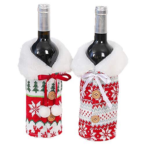 LABOTA 2 Pezzi Natalizie Borsa per Bottiglia di Vino di Natale, Coperchio della bottiglia di vino di Natale, Copri bottiglia di vino natalizio, Decorazione Bottiglia di Natale Copribottiglia