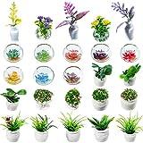25 Piezas Plantas en Macetas de Casa de Muñecas Planta Artificial en Miniatura Modelo Pequeño de Bonsai Figura Modelo de Mini Planta Mini Maceta Suculentas Falsas para Casa de Muñecas 1:12