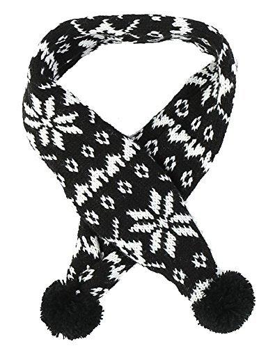 Alemon Black Pet Holiday Costume Accessories Knit Snowflake Scarf for Dogs Pet, Black Medium