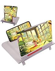 スマホ拡大鏡 携帯電話 拡大鏡 スマホ拡大鏡スタンド スクリーンアンプ 12インチ 折りたたみ式 横・縦設置対応 HD 3-4倍 3D EDOL.