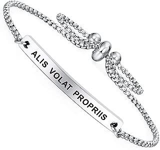 Dainty Cuff Bracelet - Alis Volat Propriis - Meaningful Engraved Adjustable Bangle Bracelet - Minimalist Jewelry
