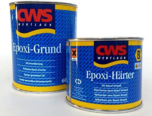 CWS Epoxi Basis wit, 0,6 l - Stammlak voor matte tweecomponenten-universele primer voor ondergronden zoals hard PVC, acryl, melaminehars gecoate platen, resopal, glas, aluminium, zink, ijzer, staal, keramische tegels, non-ferrometalen enz.
