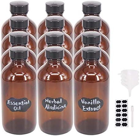 BPFY 12 Pack 8 oz Glass Boston Bottle with Black Poly Cap Funnel Chalk Labels Pen Dispensing product image