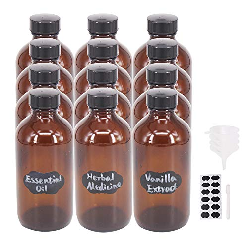 BPFY 12 Pack 8 oz Glass Boston Bottle with Black Poly Cap, Funnel, Chalk Labels, Pen, Dispensing Bottles for Homemade Vanilla Extract, Essential Oils, Herbal Medicine, Wedding Christmas Decor (Amber)