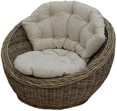 korb.outlet Sitzmuschel aus echtem Rattan/Rattan-Sessel Natur inkl. Polster Beige/Lounge Sessel (Grau Natur)