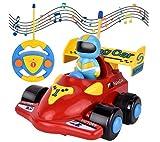 cheap4uk 1 Pieza Coche de Carreras teledirigido Radio Music Cartoon Race Car Kit con Música y Luces para bebés niños pequeños Regalo de cumpleaños Festivo