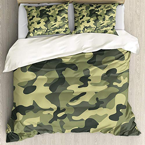 XQDMF 3D printing,Duvet Cover Set 3 pieces,Camouflage, army, retro-220x240 cm,double duvet covers set,double duvet cover king size,Zipper fluffy duvet cover,kids duvet covers set