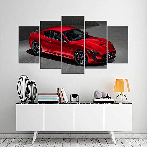 5 Piece Stretched and Framed Giclee Canvas Prints Contemporary Artwork Red Masera Sport Car Paintings on Canvas Wall Art for Living Room Bedroom Home Decorations