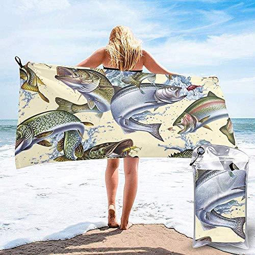 BK Creativity Strandtücher,3D Lebensechte Sahnefisch-Weiche Leichte Erwachsene Badetücher Für Das Reise-Kampieren 70x140cm