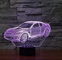 車3D7色変更LEDナイトライトリモートタッチスイッチ3Dランプ寝室の照明女の子のおもちゃのギフト