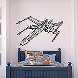 zhuziji Theme X Wing Fighter Wall Wall Sticker Vinyl Sticker Decoración para el hogar Niños Teen Boy Room Dormitory Mural Removable Wallpaper66x42cm