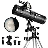 Telescope 130EQ Newtonian Reflector Telescopes for Adults, Great Astronomy Gift for Kids Adults, Comes with 1.5X Cellphone Adapter & 1.25' 13% T Moon Filter