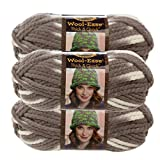 Lion Brand Yarn (3 Pack Wool Ease Super Chunky Yarn for Knitting Crocheting Soft Seagull White GrayYarn Bulky #6