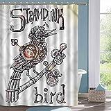 Cute Shower Curtain Surrealistic Steampunk Bird Mech Waterproof Bathtub Curtain W72 xL78