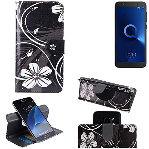 K-S-Trade® Schutzhülle Für Alcatel 1C Dual SIM Hülle 360° Wallet Case Schutz Hülle ''Flowers'' Smartphone Flip Cover Flipstyle Tasche Handyhülle Schwarz-weiß 1x
