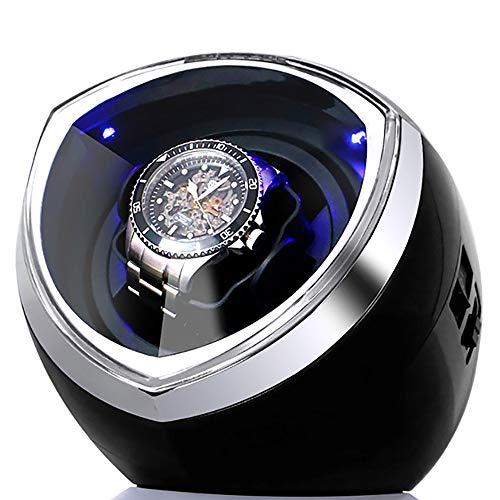 LNLN Uhrenbeweger Schwarz White Single FüR Automatikuhren Uhrenbox Automatikaufzug Aufbewahrungsvitrine Box Acrylglasplatte Hochwertiges Schwarzes Flanellfutter,Black