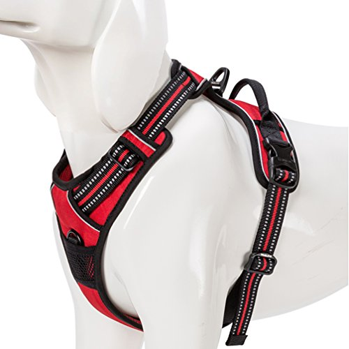 SGODA Front Dog Harness Reflective Vest with Handle Large Red