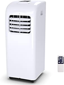 COSTWAY 10000 BTU Portable Air Conditioner with Remote Control, Energy Efficient for Rooms Up to 400 Sq. Ft, Cooling, Dehumidifying, Fanning, Sleeping Mode, Time Settings, Clear LED Display (10000BTU)