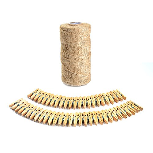 ATPWONZ 330 Feet Natural Jute Twine and 50 Pcs Mini Natural Wooden Clothespins Photo Craft Pegs Clips