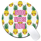 Galdas Mouse Pad Cute Pineapple Good Vibes Only Mousepad Non-Slip Rubber Gaming Mouse PadRound Mouse Pads for Computers Laptop