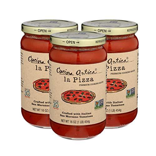 Cucina Antica - La Pizza Sauce - 16 oz La Pizza (Pack of 3) - Non GMO, Gluten Free, No Added Sugar