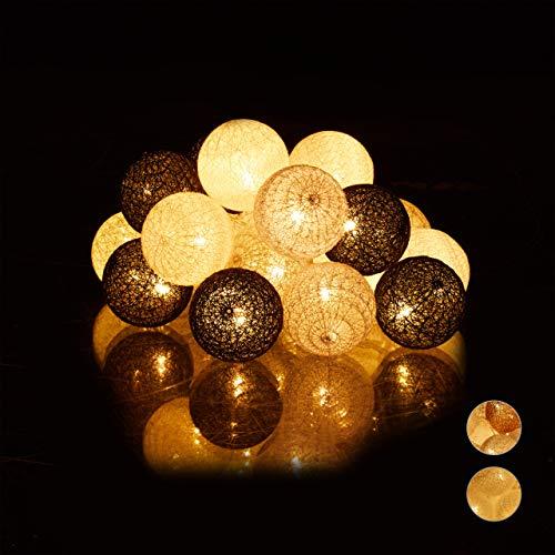 Relaxdays Led-lichtsnoer met 20 katoenen ballen, werkt op batterijen, sfeerverlichting, bolletjes 6 cm Ø, wit/grijs/zwart
