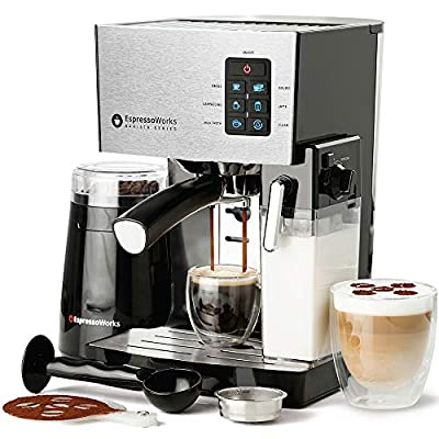 10 Pc All-In-One Barista Bundle Espresso Machine & Cappuccino Maker, 19 BAR Pump Set w/ Built in Milk Steam & Frother (Incl: Electric Coffee Bean Grinder, 2 Cappuccino & 2 Espresso Cups, Spoon/Tamper, Portafilter w/ Single & Double Shot Filter Baskets, 16