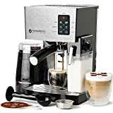 Espresso Machine & Latte and Cappuccino Maker- 10 pc All-In-One Espresso Maker with Milk Steamer Frother (Incl: Electric Coffee Bean Grinder, 2 Cappuccino & 2 Espresso Cups, Spoon/Tamper, Portafilter w/ Single & Double Shot Filter Baskets, 16 Art Stencil Templates) (Silver)