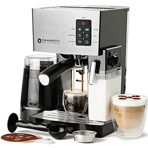 Espresso Machine, Latte & Cappuccino Maker- 10 pc All-In-One Espresso Maker with Milk Steamer (Incl: Coffee Bean Grinder, 2 Cappuccino & 2 Espresso Cups, Spoon/Tamper, Portafilter w/ Single & Double Shot Filter Baskets), 1250W, (Silver)