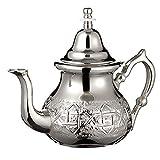 Tetera Marroquí en Plata Maillechort con Filtro Integrado y Manopla Auténtica Tradicional Modelo Grabado con Diseño Clásico Arabe Hecho a Mano Extra Grande (Aproximadamente 1 litro 10 vasos)