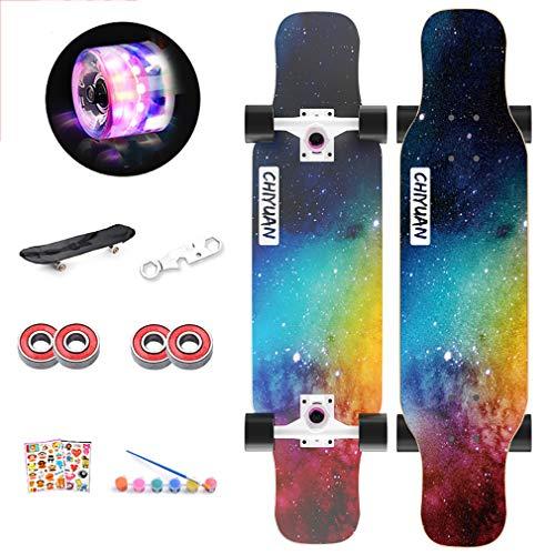 SSYC 31,4 Zoll Pro Skateboard Komplett, 7 Lagen Maple Wood Double Kick Concave Skateboards, Tricks Skateboards Für Teenager, Anfänger, Mädchen, Jungen, Kinder, Erwachsene