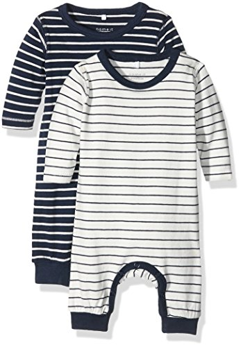 NAME IT Baby-Jungen NITSALK 2P LS SUIT MZNB Strampler, Mehrfarbig (Dress Blues Pack:dress blues + snow white 2 pack), 56 (2er Pack)