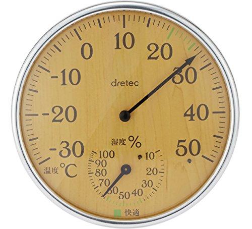 dretec(ドリテック) 温湿度計 アナログ 温度計 湿度計 木目 卓上 壁掛け O-319NW(ナチュラルウッド)