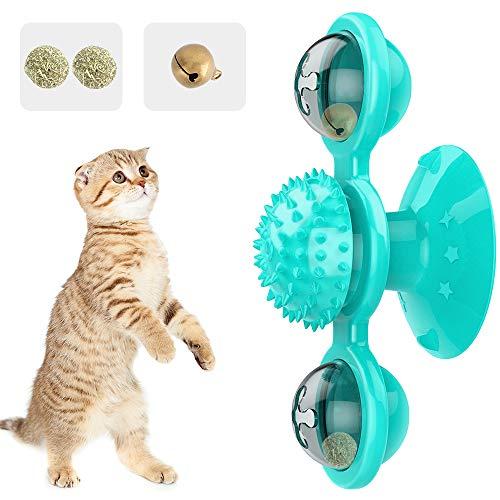 Pawaboo Giocattolo per Gatti, Giocattoli a Forma di Mulino a Vento per Gatti, Giocattolo Interattivo per Animali Domestici, Gioco Rotante a 360 Gradi per Gatto, Morbido e Resistente - Lago Blu
