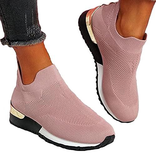 Cómodos Entrenadores de Calcetines para Mujer, Entrenadores de tacón de cuña bajo, resbalones para Mujer, Entrenadores, Entrenadores de Punto Mujeres (Color : Pink, Size : 42EU)