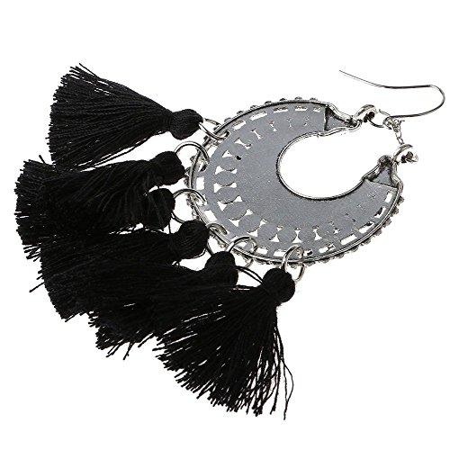 Mmrm Femmes Bijoux Élégant Bohême Glands Noir Pendre Boucle d'oreille à la Mode Cadeau