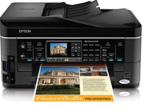 Epson WorkForce 645 Wireless All-in-One Color Inkjet Printer, Copier, Scanner, Fax, iOS/Tablet/Smartphone/AirPrint Compatible (C11CB86201)