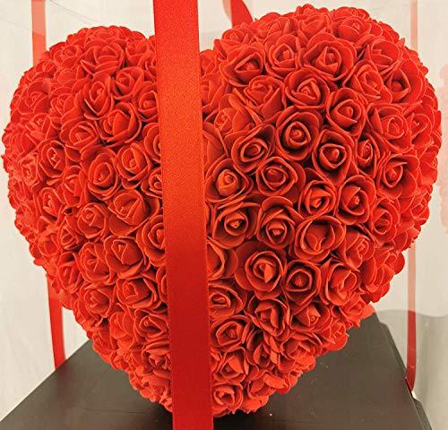 Blumenhandel Nadir Gezer 40cm Roter künstlicher Rosenherz L-33cm x B-33cm x H-40cm inklusive vor verpackter Geschenkbox - Roseheart with 30 cm incl. giftbox Muttertag (Rot) (Schleife)