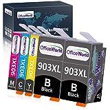 OfficeWorld Sostituzione per Cartucce d'inchiostro HP 903 903XL Compatibili con HP Officejet Pro 6950 6960 6970, HP 6950, HP 6960, HP 6970 (2 Nero Grande, 1 Ciano, 1 Magenta, 1 Giallo)