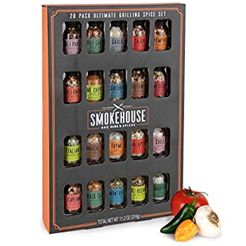 Thoughtfully Gifts Smokehouse Ultimate Grilling Spice Set Grill Seasoning Gift Set Flavors Include Chili Garlic Rosemary and Herb Lime Chipotle Cajun Seasoning and More Pack of 20