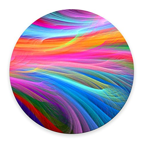 Pingpi Gaming Mouse Pad Custom,Rainbow Ocean Round Mouse Pad