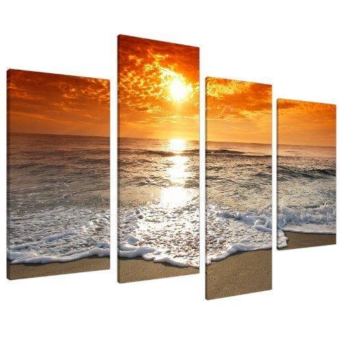 Wallfillers Cuadros en Lienzo Grande Amanecer Playa Imágenes XL 4152
