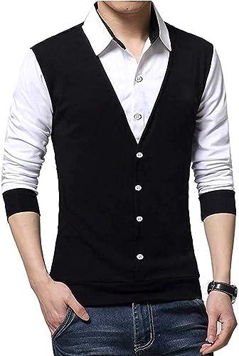 Men s Cotton Waist Coat Style Tshirt T Shirt blackk XL