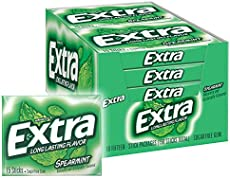 EXTRA Spearmint Sugarfree Chewing Gum, 15 Pieces (Pack of 10)