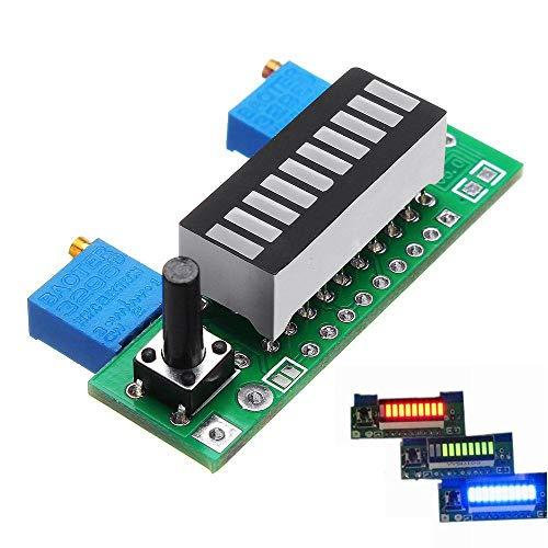 Relais Capacité de la Batterie Indicateur Module LED Niveau d'alimentation Testeur Panneau d'affichage LM3914 commutateur de Relais WiFi (Color : Blue)