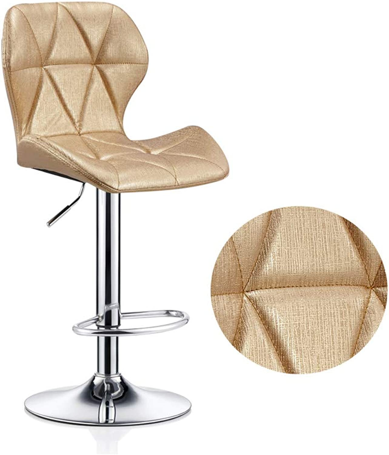 NUBAO Barstool, Restaurant High Stools, Safety Stool, Counter Chair, redate Lift Cushion Integrated 60-80cm Suitable for 90-120cm Bar Counter (color   gold)